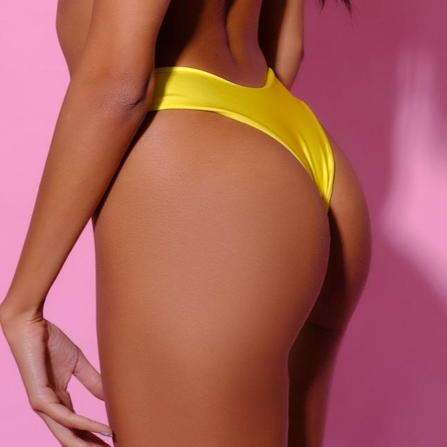 Bottom-Kelly Slip-Siberica Swim-Only Bottom Match with Top to complete the look Brazilian bottom High quality double fabric with lining Model wears size Medium Bikini for woman Brand: Siberica Swim Care Instructions-S Yellow-