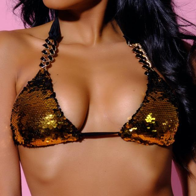 Top-Sirena Gold Top-Siberica Swim-Only Top Match with Bottom to complete the look Bi-color sequin fabric Gold & Black Sliding triangle top Top padded removable Neck & back ties High quality double fabric with lining Handmade Rhinestone jeweled details Model wears size Small Bikini for woman Brand: Siberica Swim Care Instructions-S-