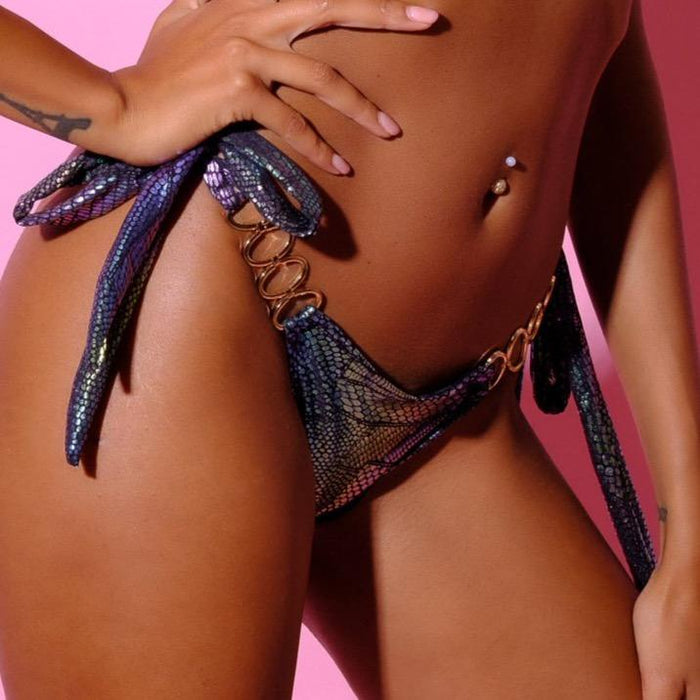 BottomOutlet-Snake Slip-Siberica Swim-Only Bottom Match with Top to complete the look Metallic snake-effect fabric Scrunch bum Brazilian bottom High quality double fabric with lining Rhinestone jeweled details Model wears size Small Bikini for woman Brand: Siberica Swim Care Instructions-S-