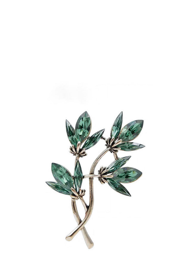 Brooch - Green Floral