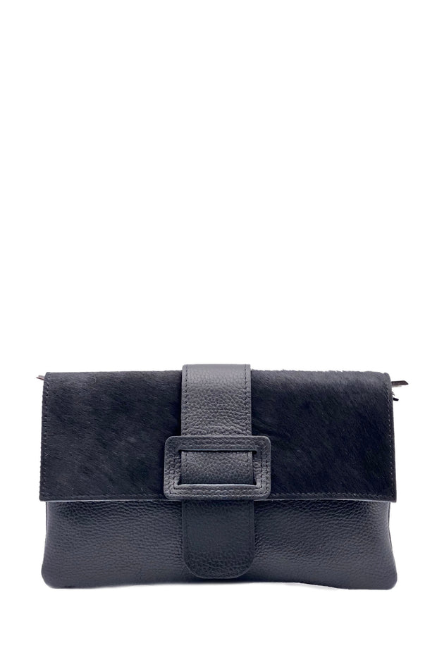 Clutch Bag - Leather Cowhide Black