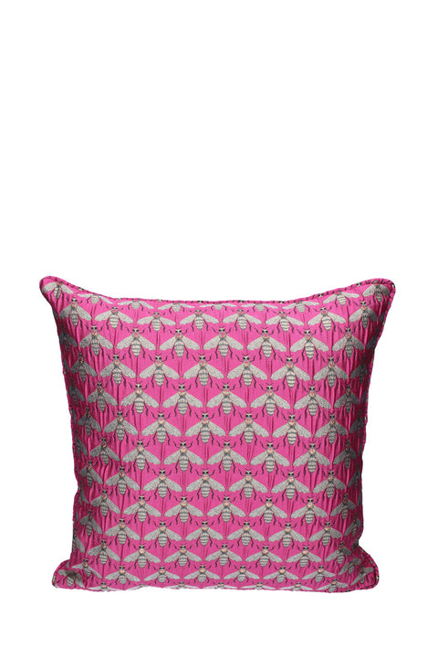 Cushion - Fuchsia Jacquard Bee Pattern 42x42cm