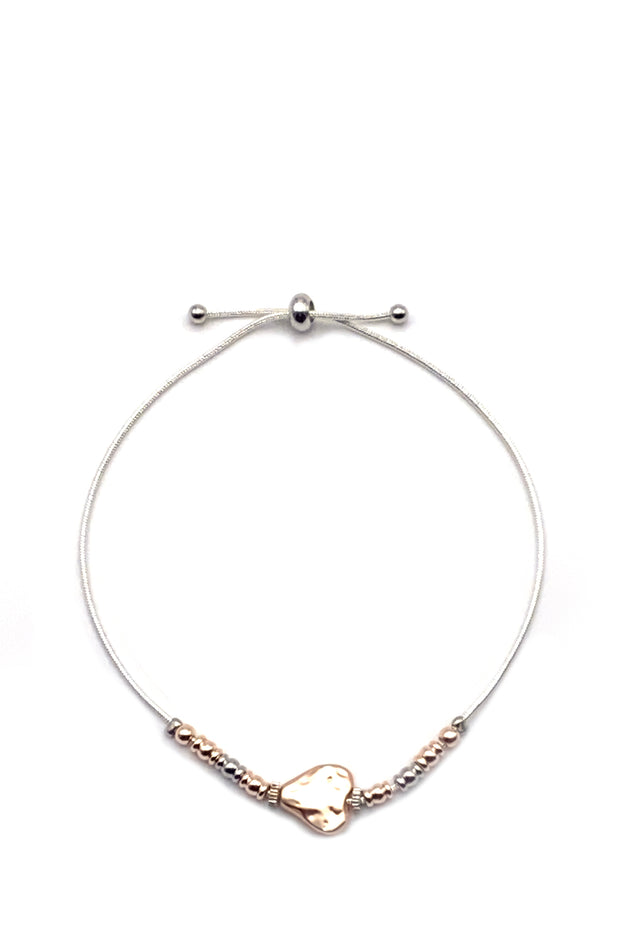 Friendship Bracelet - Heart Rose Gold & Silver