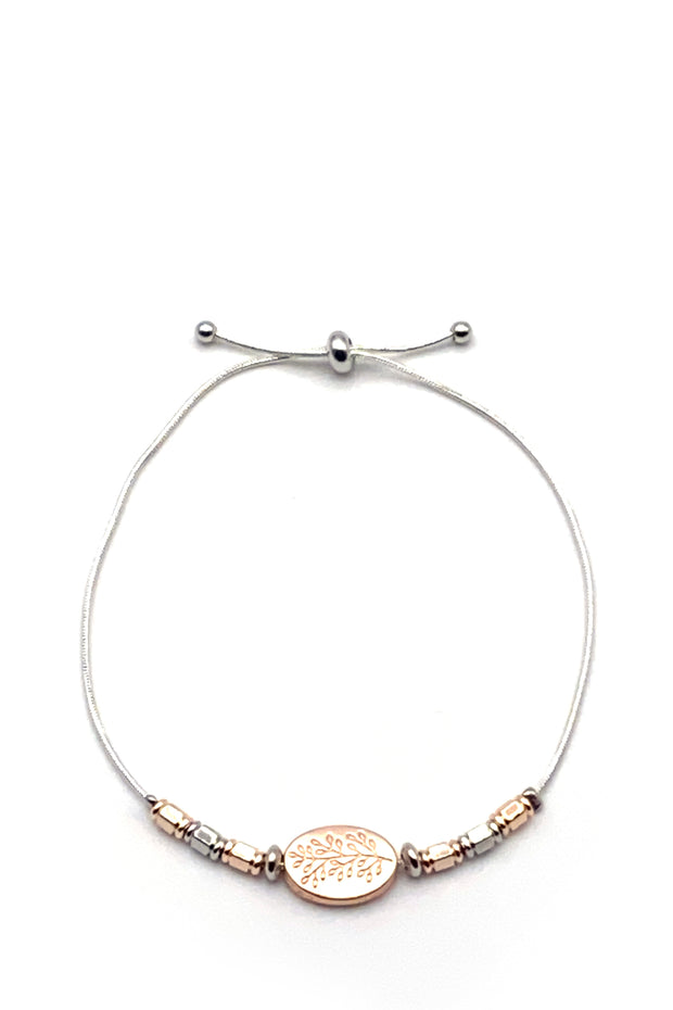 Friendship Bracelet - Leaves Rose Gold & Silver