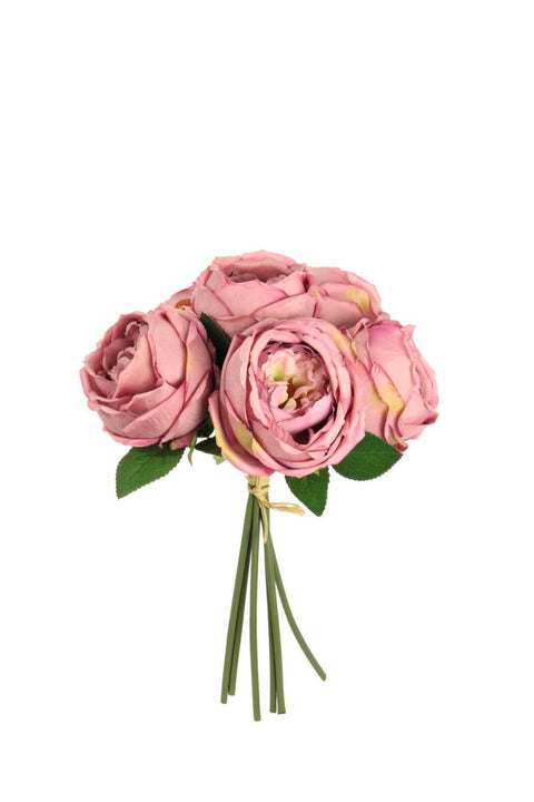 Silk Flowers - Vintage Rose Bouquet Blush Pink 33cm