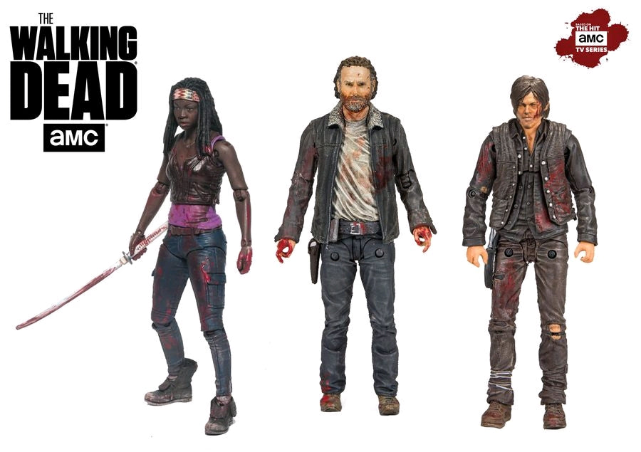 The Walking Dead TV Series Rick Daryl Michonne Deluxe Action Figure 3-Pack