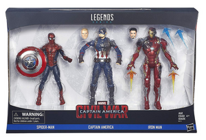 Marvel Legends Captain America Civil War Spider-Man Iron Man Captain America 3 Pack Action Figure