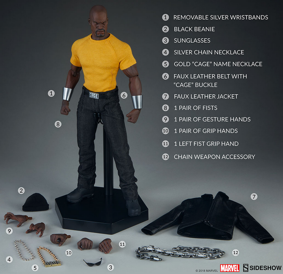 Marvel Sideshow Collectibles Luke Cage 1:6 Scale Action Figure Pre-Order