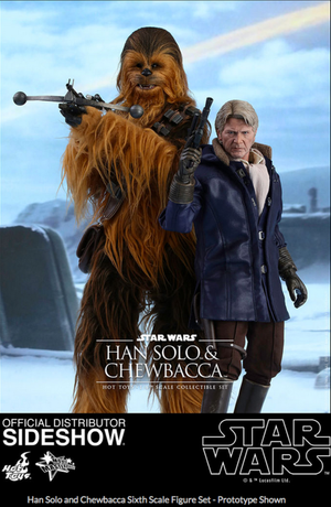 Star Wars Hot Toys Force Awakens Han Solo & Chewbacca Set 1:6 Scale Action Figure HOTMMS376