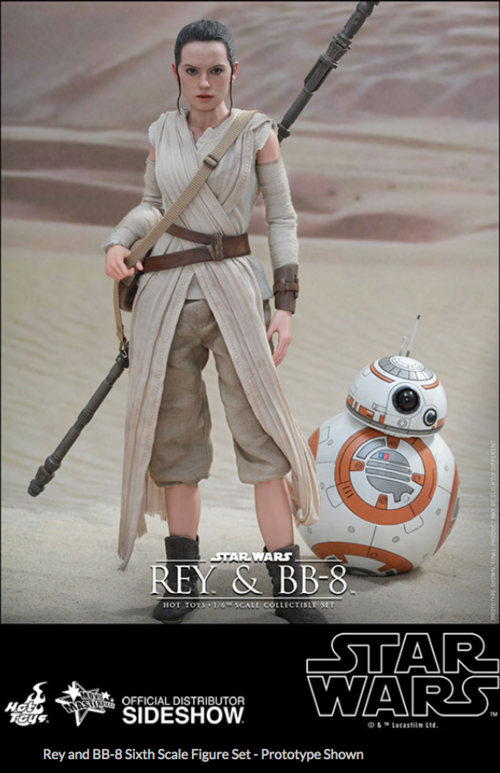Star Wars Hot Toys Force Awakens Rey & BB-8 Set 1:6 Scale Action Figure HOTMMS337