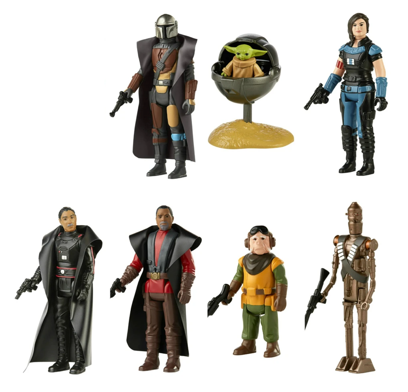 Star Wars The Retro Collection The Mandalorian Wave 1 Action Figure Set Of 7 Pre-Order