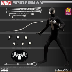 Marvel Mezco PX Previews Exclusive Black Suit Spider-Man One:12 Scale Action Figure