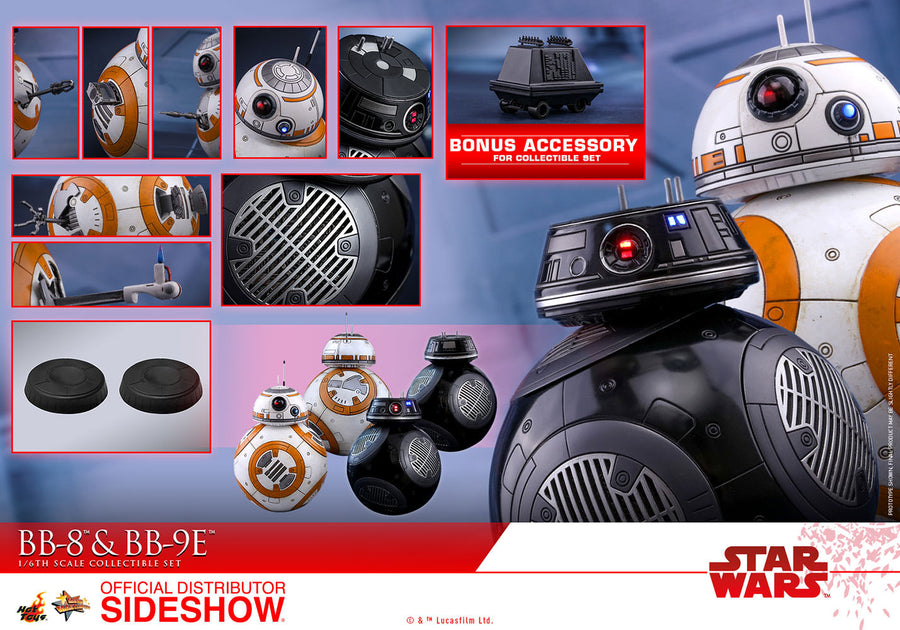 Star Wars Hot Toys BB-8 & BB-9E 1:6 Scale Action Figure Set HOTMMS442