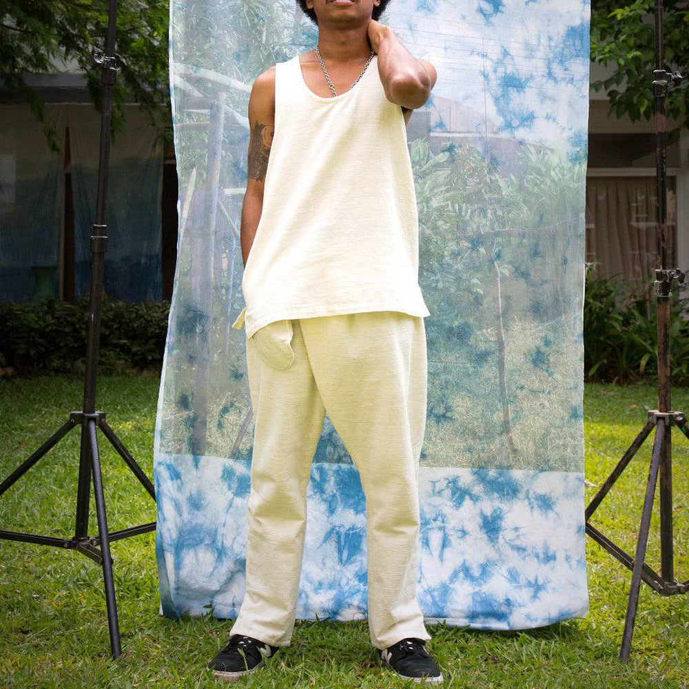 Load image into Gallery viewer, RAW WHITE ISAN WOVEN CROSSOVER TROUSERS