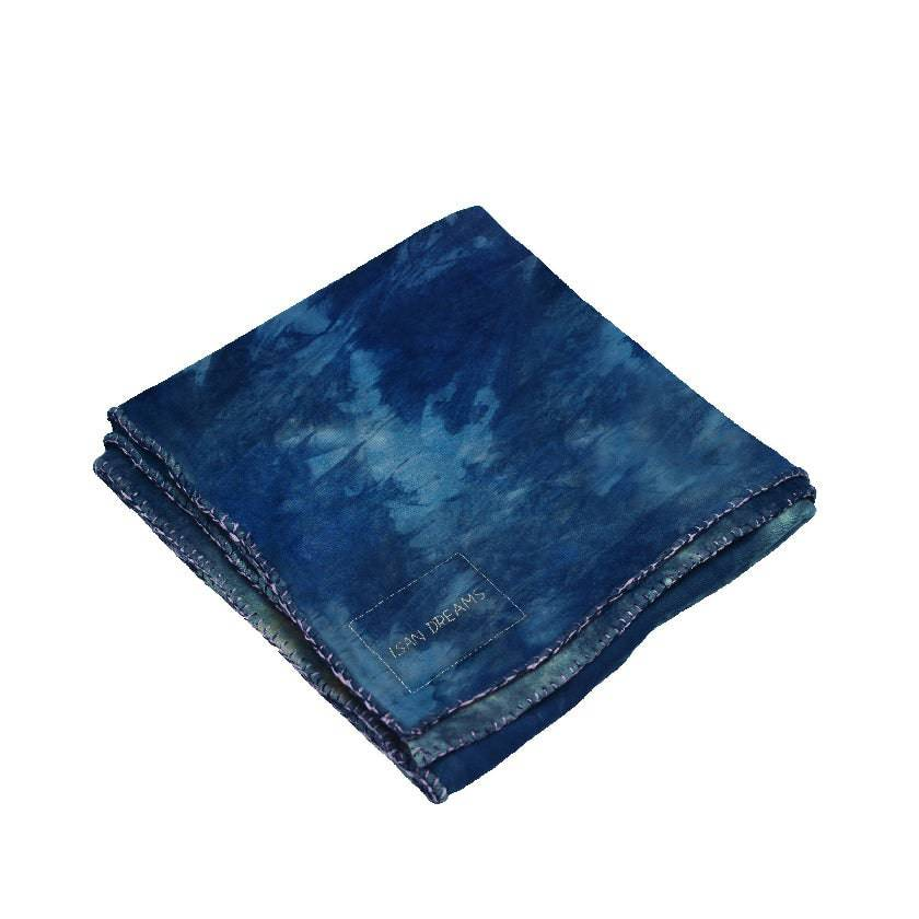 ISAN DREAMS CAMOUFLAGE TIE-DYED INDIGO BAMBOO FLEECE BLANKET
