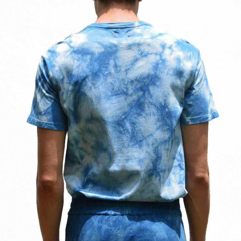 Load image into Gallery viewer, CAMOUFLAGE TIE-DYED INDIGO CREW NECK T-SHIRT
