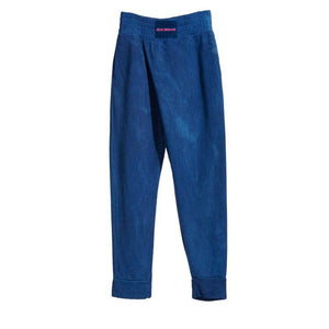 ISAN DREAMS DARK INDIGO BAMBOO FLEECE CROSSOVER SWEATPANTS
