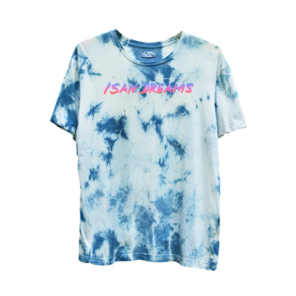 TIE-DYED INDIGO GRADIENT ISAN DREAMS CREW NECK T-SHIRT