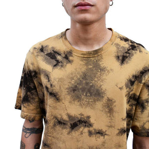 MOONLESS RUST TIE-DYE RIBBED CREW NECK T-SHIRT
