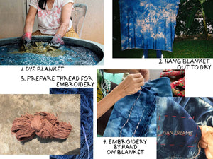PERSONALIZED MONOGRAM: ISAN DREAMS CAMOUFLAGE TIE-DYED INDIGO BAMBOO FLEECE BLANKET