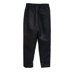 BLACK SILK CROSSOVER TROUSERS