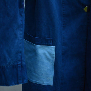 Load image into Gallery viewer, DARK INDIGO MIFUNE TRENCH WITH LIGHT INDIGO POCKETS