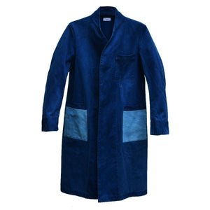 DARK INDIGO MIFUNE TRENCH WITH LIGHT INDIGO POCKETS