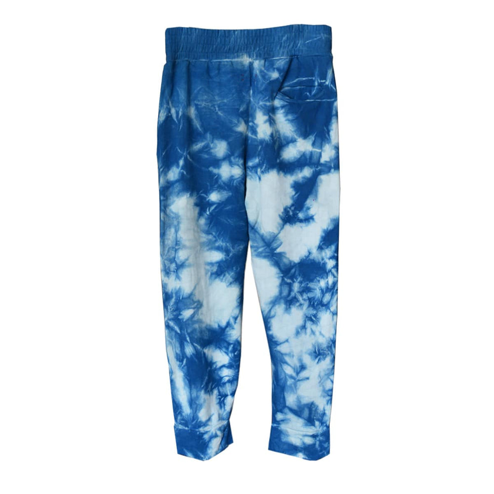 ISAN DREAMS TIE-DYED INDIGO BAMBOO FLEECE CROSSOVER SWEATPANTS