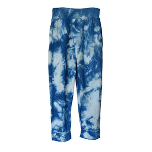 TIE-DYED INDIGO BAMBOO FLEECE CROSSOVER SWEATPANTS