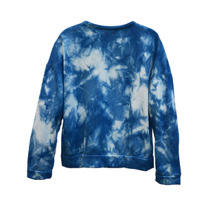TIE-DYED INDIGO BAMBOO FLEECE SWEATSHIRT