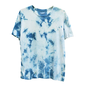 TIE-DYED INDIGO CREW NECK T-SHIRT