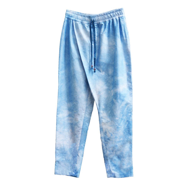 TIE-DYED INDIGO CROSSOVER TROUSERS