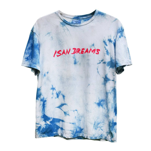 "Alt= ""Front of Philip Huang Sakon Nakhon Indigo tie-dyed organic cotton t-shirt with silk screen print with isan dreams print"""