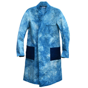 TIE-DYED INDIGO MIFUNE TRENCH WITH DARK INDIGO POCKETS