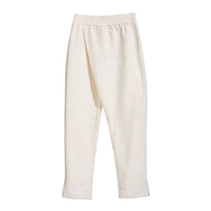 RAW WHITE ISAN WOVEN CROSSOVER TROUSERS