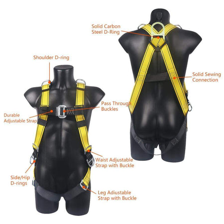 Aixben Climbing Harness 5 D-Ring Roofing Fall Protection Safety Harness Full Body Harness