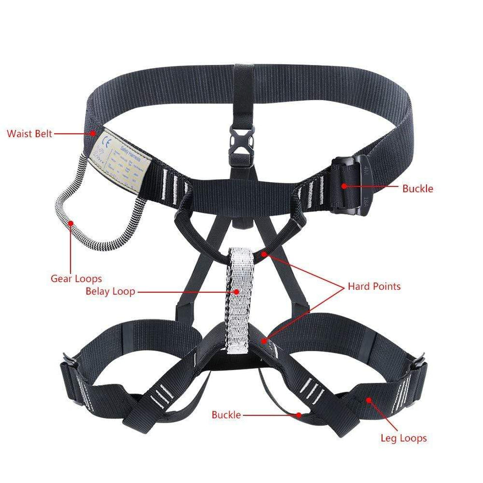Aixben Climbing Harness Half Body Climbing Harness Rappelling Safety Harness Black