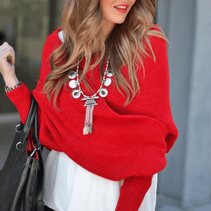 Knitted Wrap Sweater Scarf With Sleeves Aixben
