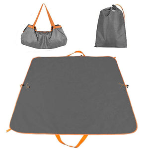 X XBEN Gray Picnic Mat Bag Outdoor Beach Blanket Waterproof