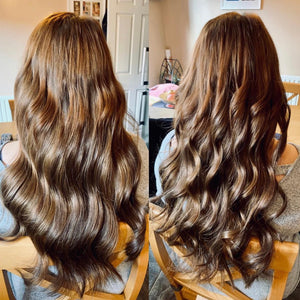 Clipin human hair extension Brown 22 inch