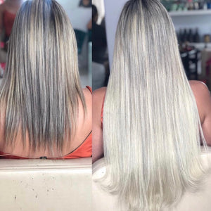 Clipin human hair extensions Ash Blonde