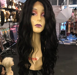 Long black wavy Lacefront wig 30 inch