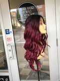 Burgundy deep wave lacefront wig