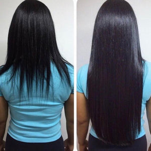 Clipin Human hair extensions off black