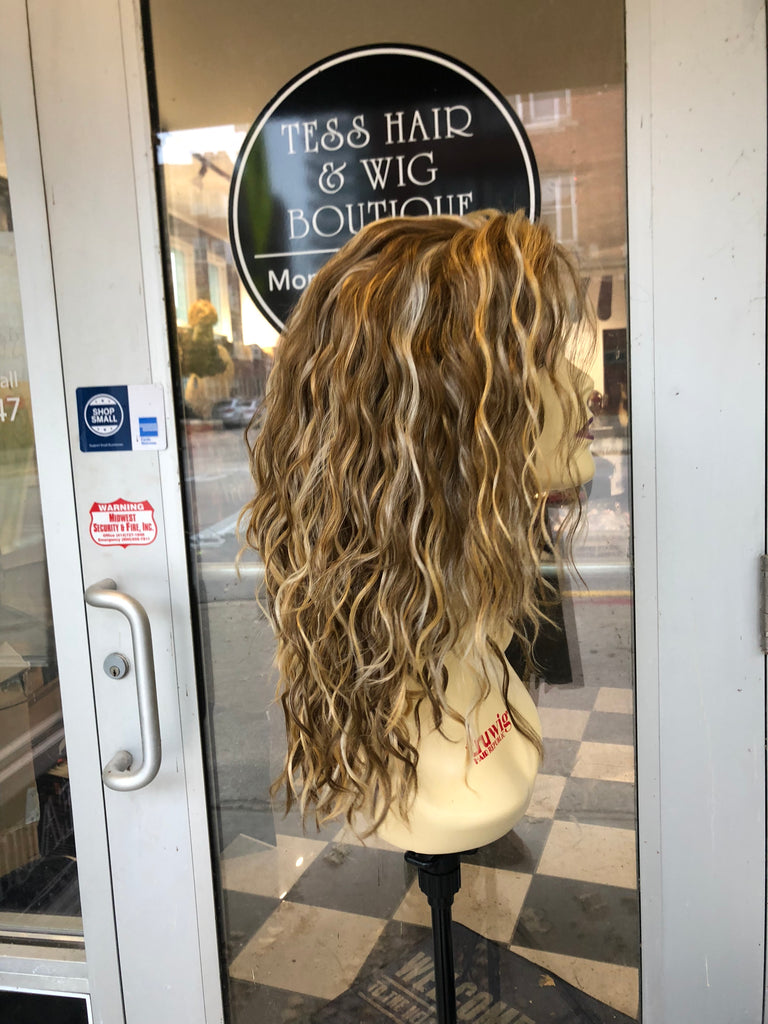 Blonde mix curly lacefront wig 2216