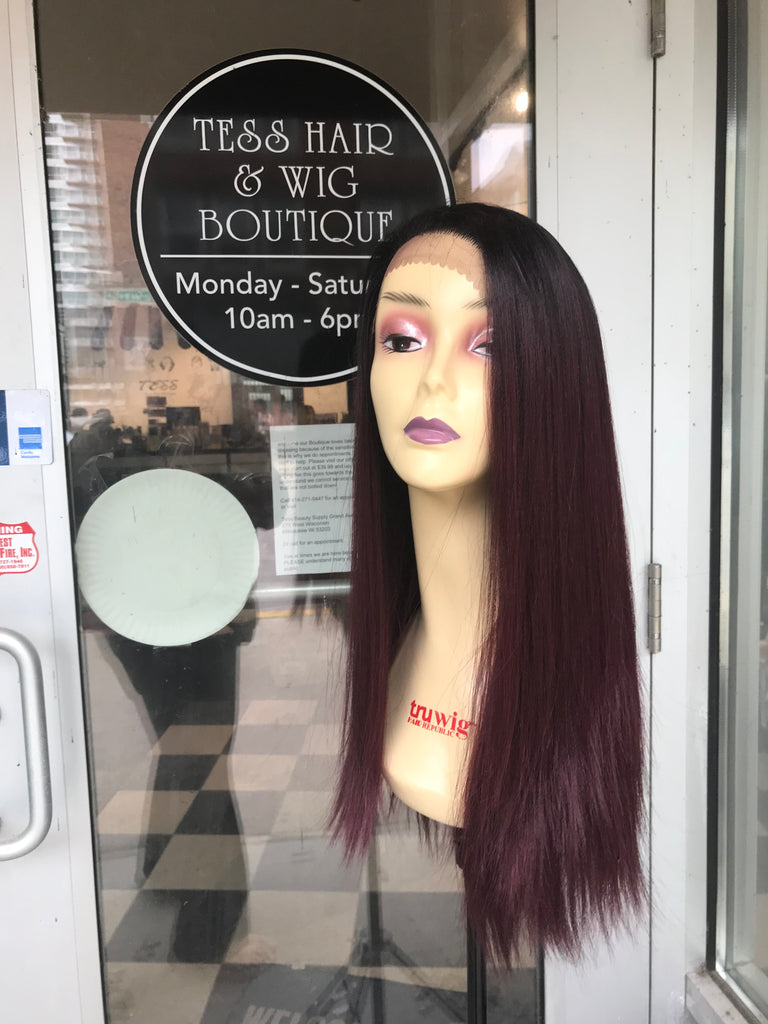 Red wine wig 6x6 Freepart burgundy wig