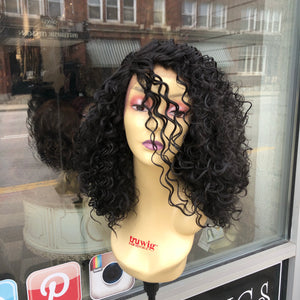 Black curly wig medium length big hair don't care
