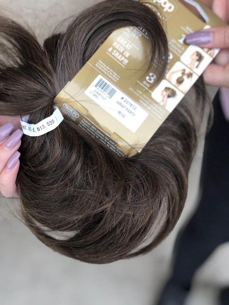 Ponytail wrap up to hairpiece