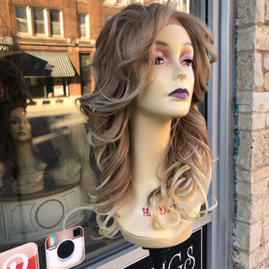 Blonde frosted tips lacefront wig Freepart