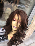 Long Auburn Brown Wig curly lacefront wig